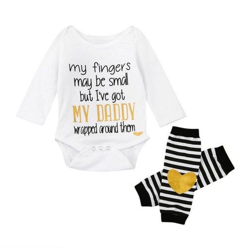 2pcs Baby Set Infant Newborn Kids Baby Girls Clothes Summer Long Sleeve Letter Print Cute Romper+Heart Leg Warmers Set 6-24M
