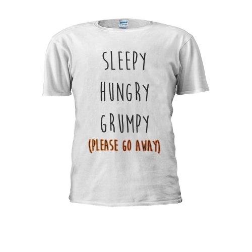 Sleepy Hungry Grumpy Please Go Away Novelty Men Women Unisex Top T Shirt