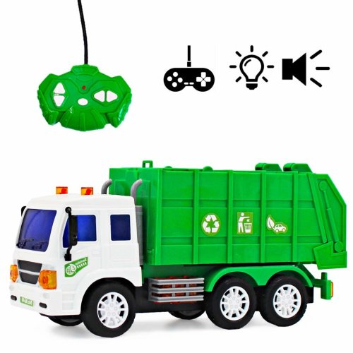 deAO Remote Control Early Learning Engineering Construction Vehicles with Light and Sounds – Best Gift for Kids (Garbage Truck)