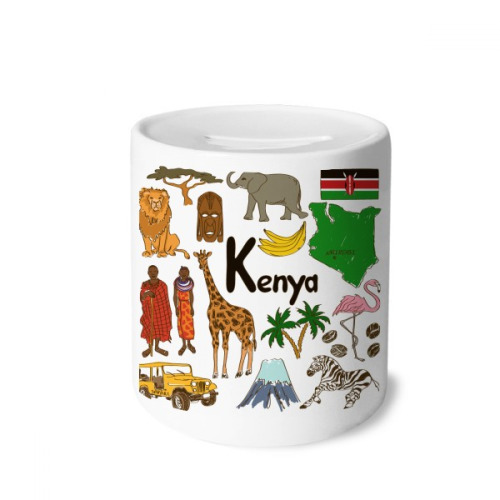 Kenya Landscap Animals National Flag Money Box Saving Banks Ceramic Coin Case Kids Adults