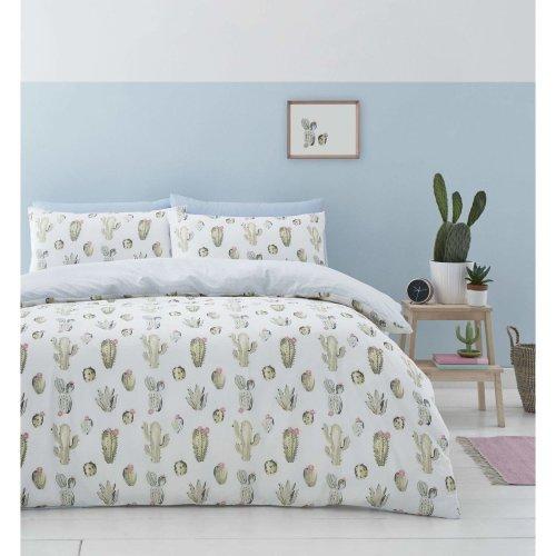 Catherine Lansfield Cactus Easy Care King Duvet Set Green