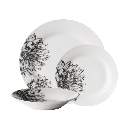 12pc Avie Black & White Botanic Dinner Set