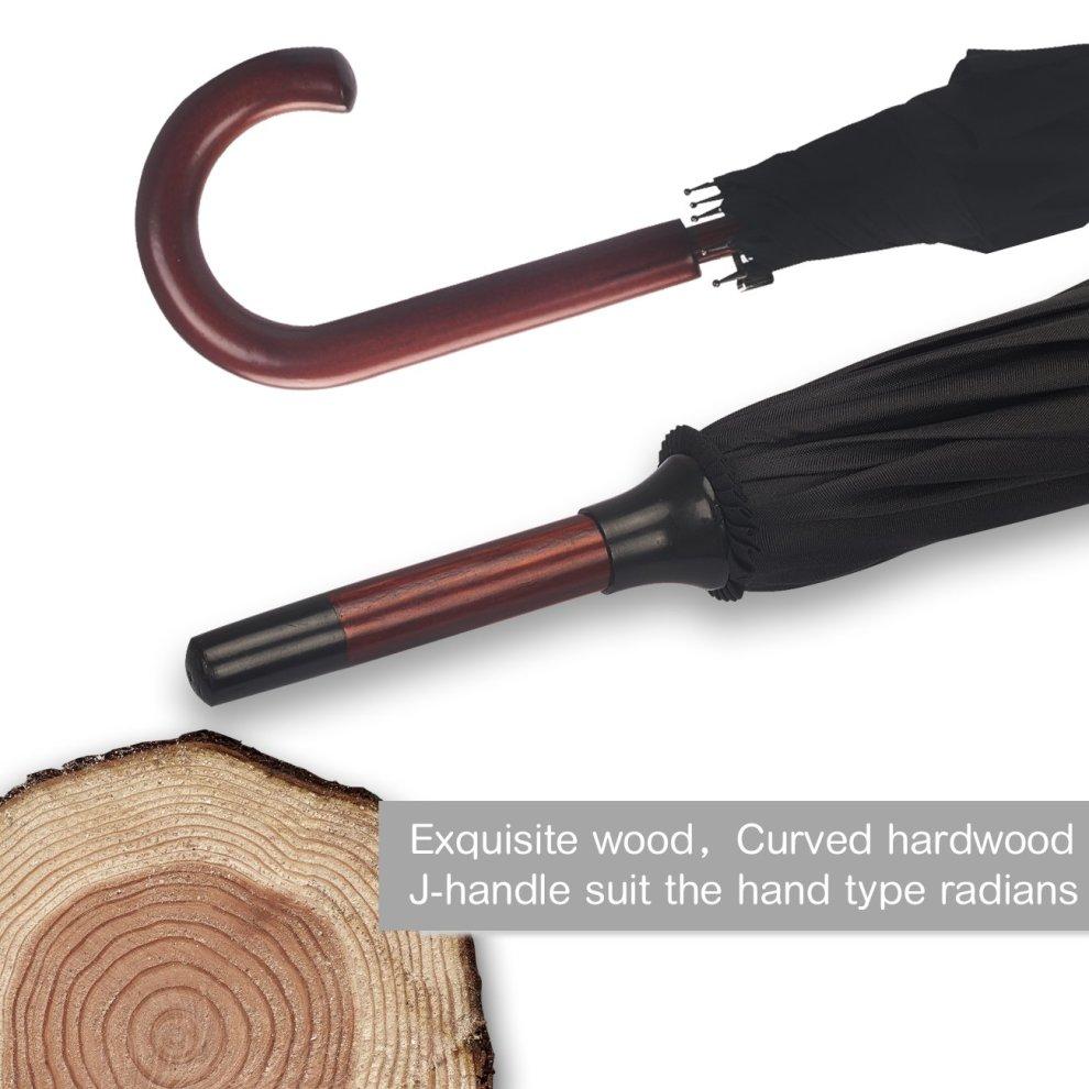 Pengda Automatic Open Umbrella Classic 48 Inch Stick Umbrellas For Men And Women Lightweight Waterproof Windproof Wooden Crook Handle Black