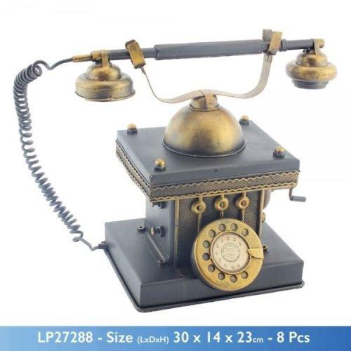 Vintage Antique Rotary Dial Telephone Shape Metal Money Box