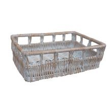 Large Full White Wash Willow Detailed Tray