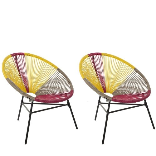 Set of 2 Accent Chairs Multicolour Yellow ACAPULCO