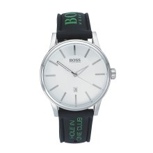 Hugo Boss 1512884 Mens Black Silicone/Rubber Band Silver Dial Watch