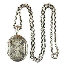 1880 Victorian Antique Pendant Locket Cross Design and Chain Silver Hallmarked Birmingham
