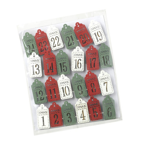 Christmas Advent Pegs in Green Red White  x 24