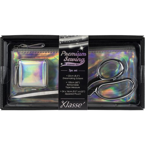 Klasse Iridescent Scissor 3pc Set-W/Dressmaker Shears, Tape Measure & Case