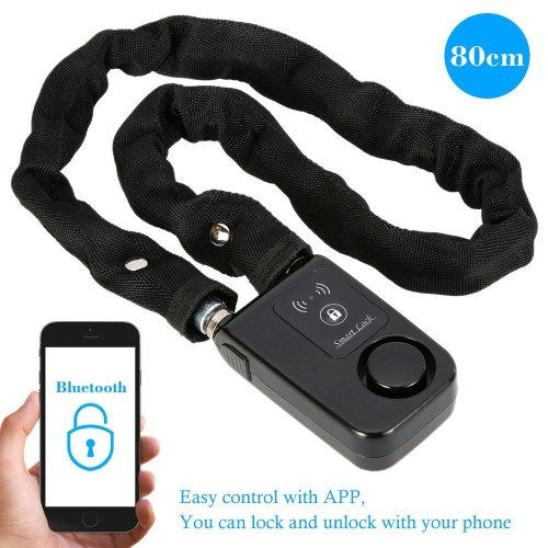 KKmoon Security Lock with Bluetooth; Cable Lock; 80cm Black Chain Smart Lock Anti Theft Alarm Keyless Phone APP Control Lock