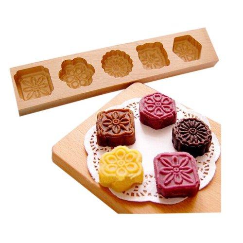 Dessert Baking Molds/Wooden Carving Baking Molds, Five Flowers(28.5*5.5*1.4cm)