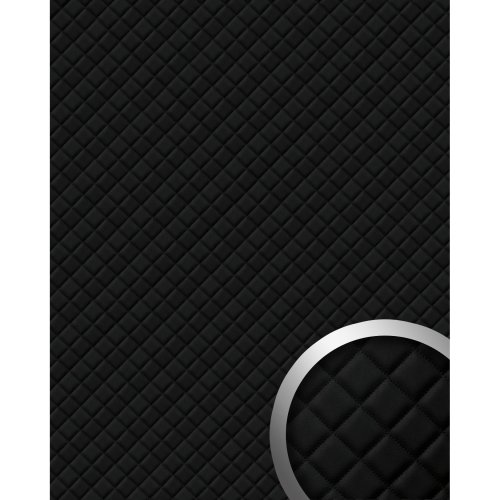 WallFace 15029 ROMBO Wallpanel self-adhesive Leather plaid black 2.6 sqm