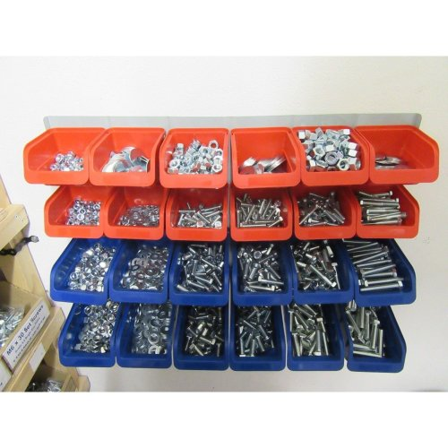 1,830 PIECE M8, M10, & M12 NUT + BOLT + WASHER WORKSHOP ASSORTMENT Plastic Bins