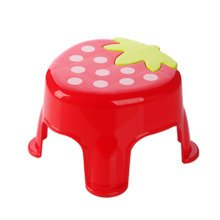 Cute Cartoon Creative Anti-skidding Plastic Stool Footstool for Children, Strawberry, Red (Small)