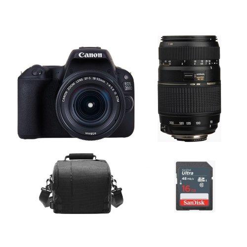CANON 200D + EF-S 18-55mm + TAMRON AF 70-300mm A17E + Bag+16gb SD card