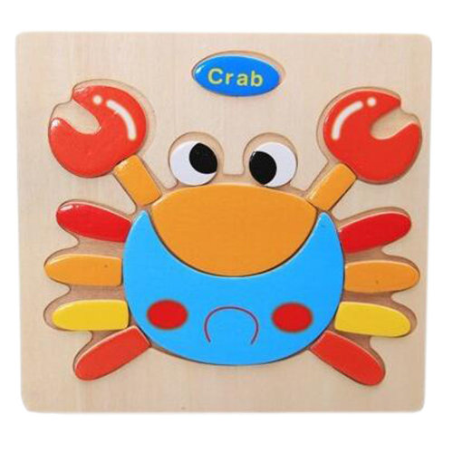 Children's Educational Toys World Wooden 3D Three-dimensional Jigsaw Baby Puzzle Toys, crab