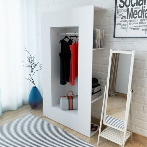 vidaXL Wardrobe Chipboard 106x36.5x192cm White Bedroom Clothes Storage Cabinet