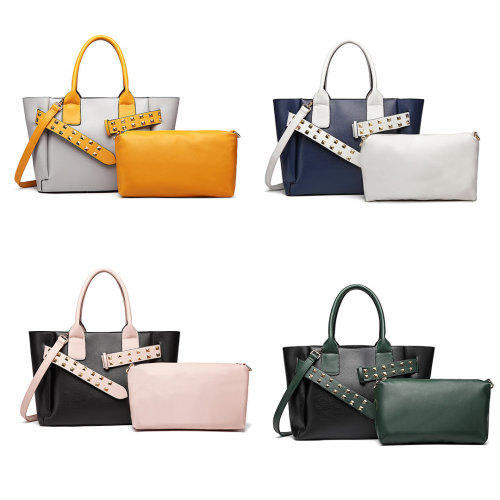 2pc Miss Lulu PU Leather Handbag and Pouch Set