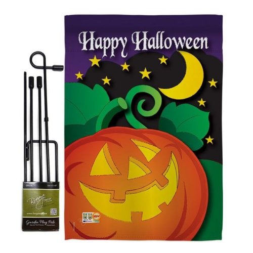 Breeze Decor BD-HO-GS-112052-IP-BO-D-US11-BD 13 x 18.5 in. Halloween Night Fall Vertical Double Sided Mini Garden Flag Set with Banner Pole