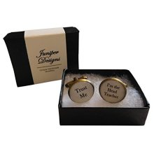 """Handcrafted """"Trust Me - I'm the Head Teacher"""" Cuff links - Excellent Christmas, thank you, birthday or Teacher gift"""