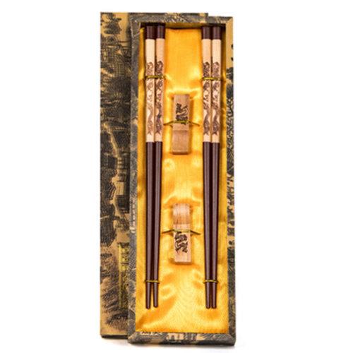 Chopsticks Reusable Set - Asian-style Natural Wooden Chop Stick Set with Case as Present Gift,A