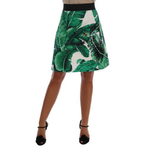 Dolce & Gabbana Green Banana Leaf Crystal Cotton Silk Skirt