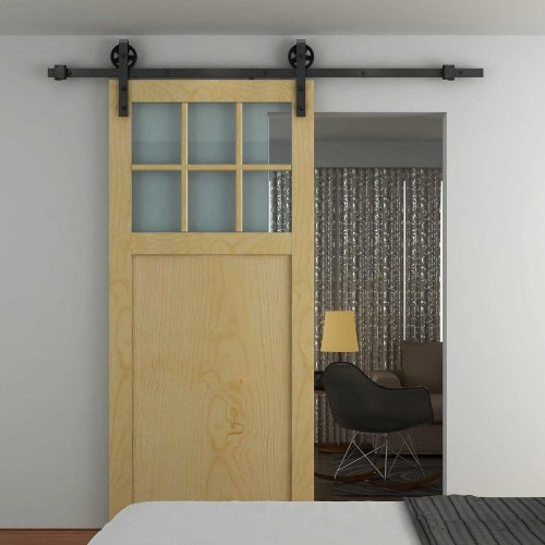HOMCOM Modern Sliding Barn Door Closet Hardware Track Kit for Single Wooden Door - 6FT /1830mm