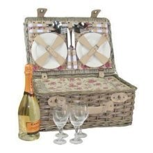 4 Person Garden Rose Chilled Wicker Fitted Picnic Basket