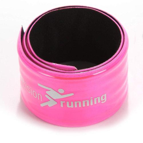 Precision Running Reflective Hi-Vis-Hi-Viz Running Cycling Snap Wrap Band Pink