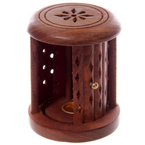 Incense Cone Burner Sheesham Wood Carved Barrel