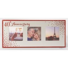 40th Anniversary Celebrations Sparkle Triple Photo Frame WG83540