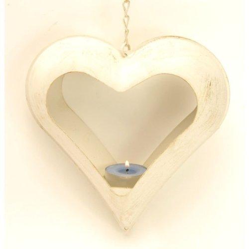 Cream Heart Votive Holder