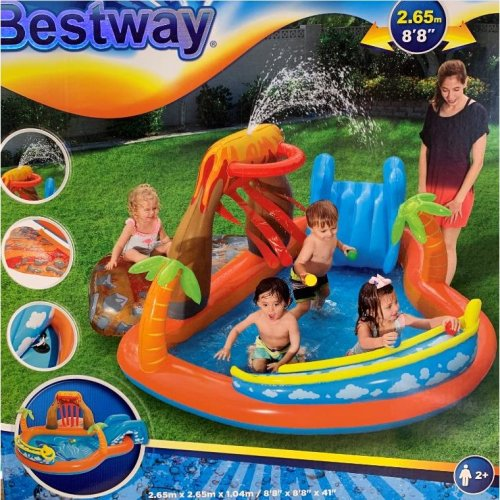Bestway Inflatable Outdoor Water Paddling Pool Lava Lagoon Play Centre