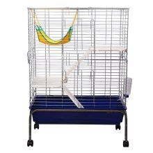 PawHut 3-Storey Guinea Pig Cage | Small Pet House On Wheels
