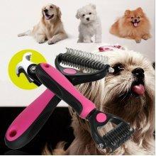 Dog Pet Dematting Grooming Deshedding Trimmer Tool Hair Thinning Comb Brush Pink