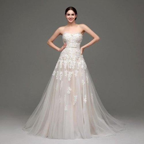 High Quality Cheap Champagne Wedding Dresses A-line Swetheart Bride Gowns Lace vestido de noiva com manga