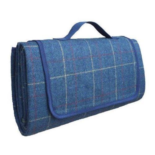 Luxury Blue Tweed Picnic Blanket