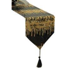 Luxury Sequin Table Runner Black & Gold Sequined Table-Runner 86.5''