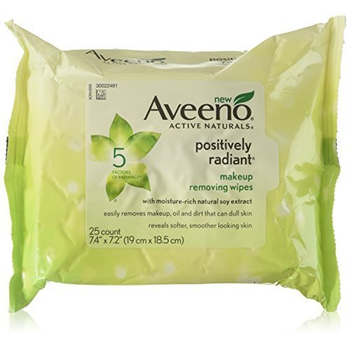 Aveeno Active Naturals Positively Radiant Makeup Removing Wipes 25 Wipes (Pac...