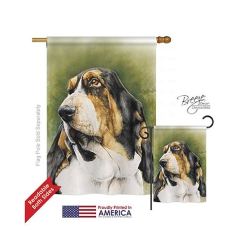 Breeze Decor 10090 Pets Basset Hound 2-Sided Vertical Impression House Flag - 28 x 40 in.