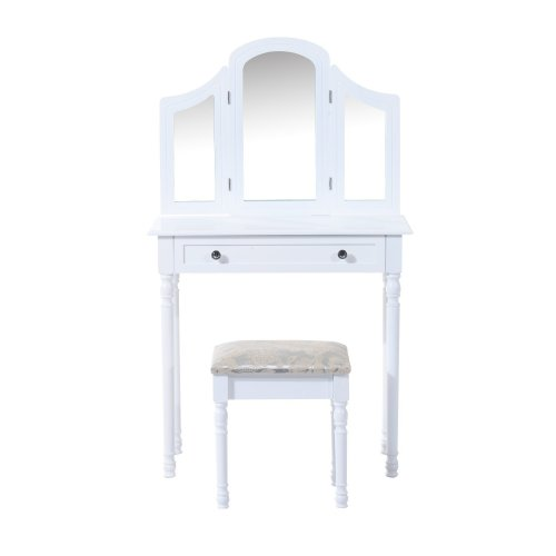 Homcom Large Dressing Table Wooden Vanity Drawer W/ 3 Mirrors & Stool White