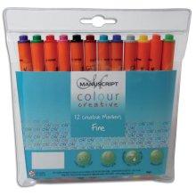 Manuscript Colour Creative Markers Fine Tip 12/Pkg-