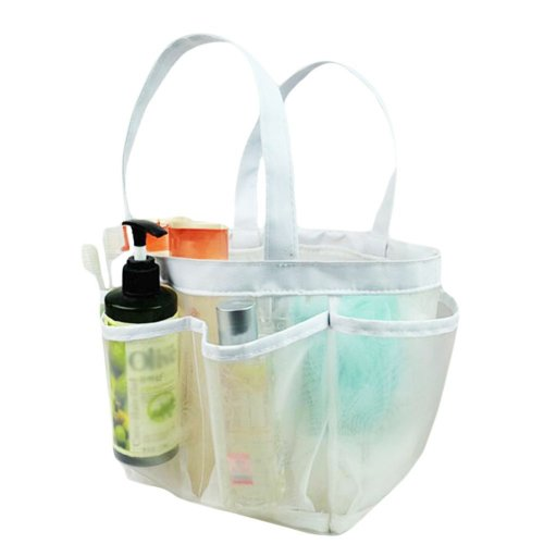 Outdoor Quick Dry Mesh Shower Accessories Tote With Double Handles-White