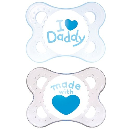 MAM Soother Style 0+ Months BLUE ( I love Daddy / Made with Love)