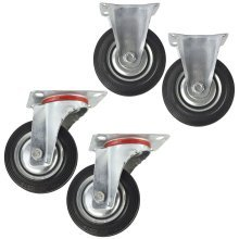 "4"" (100mm) Rubber Fixed and Swivel Castor Wheel Trolley Caster (4 Pack) CST03_04"