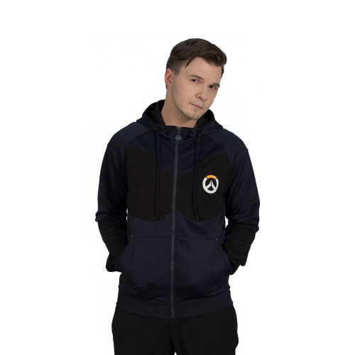 OVERWATCH Athletic Tech Full Length Zipper Hoodie, Male, Small, Black/Blue (CHM007OW-S)