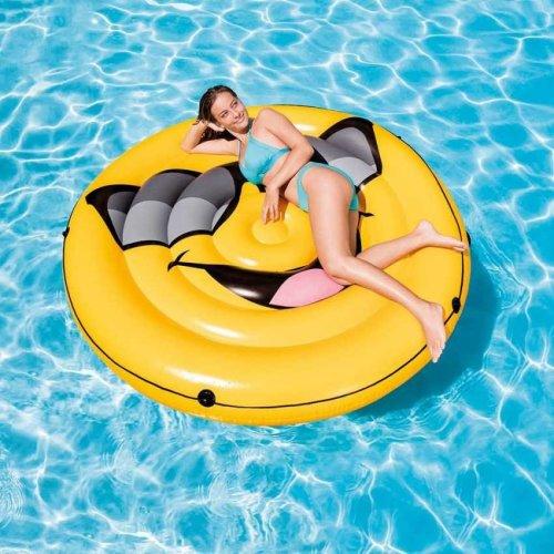 Intex 57254 Cool Guy Island Inflatable Emoji Mattress for the Pool or the Beach