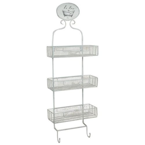 "Wrought Iron Made Shabby Finish ""le Bain""  W32xdp13xh91 Cm Sized Wall Shelf"