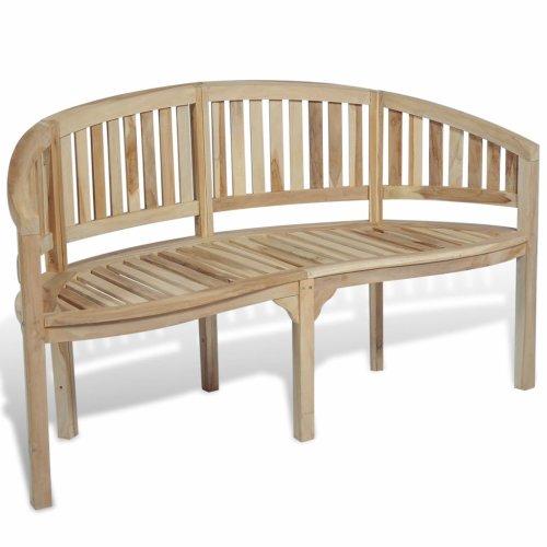 Terrific Vidaxl Teak Banana Bench 151Cm Outdoor Garden Patio Park Yard Seat Furniture Machost Co Dining Chair Design Ideas Machostcouk